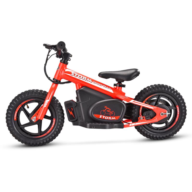 "Storm Kids 100w 12"" Electric Balance Bike - Red"